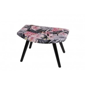AT1022 - BLACK FOOTSTOOL WITH HIBISCUS PRINTING - CONFORT