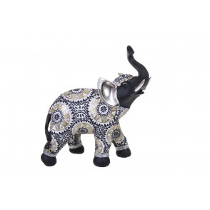 DG3127 - ELEPHANT WITH UP TRUNK BLACK/GOLD - GIPSY
