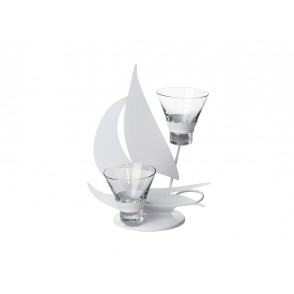 MB1399 - WHITE SAILING BOAT CANDLE HOLDER 2 CUPS - SATELLITE