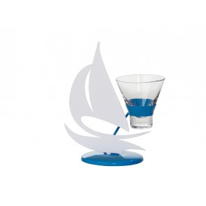 MB1400 - WHITE/BLUE SAILING BOAT CANDLE HOLDER 1 CUP - SATELLITE