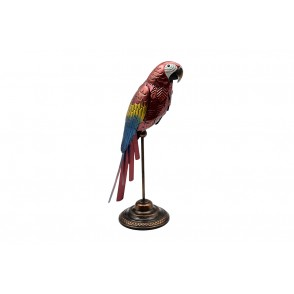 MD6230 - RED METAL PARROT ON SOCLE - HISTOIRE DE FER