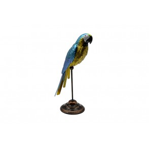 MD6231 - BLUE METAL PARROT ON SOCLE - HISTOIRE DE FER