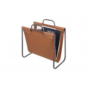 MM01257 - SIMPLE MAGAZINE RACK METAL/IMITATION LEATHER - BAXTER