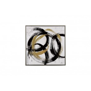TA5461 - ABSTRAIT PAINTING WITH CIRCLES SILVER FRAME 60*60 - GALLERY