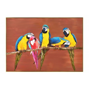 TA5571 - PARROTS TERRACOTTA BACKGROUND GOLD FRAME 70*100 - GALLERY