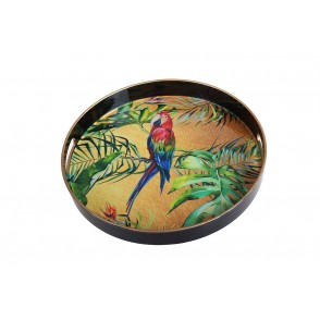 UD7690 - ROUND TRAY PARROTS GOLDEN COLOR - HOME